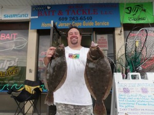 Chris from Sea Isle City with a 5- and 3-pound flounder.