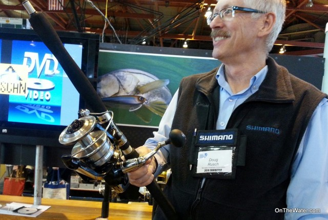 Shimano Rep Doug Rusch displays the new Shimano Spheros SW at the World Fishing and Outdoor Expo in Suffern, NY.