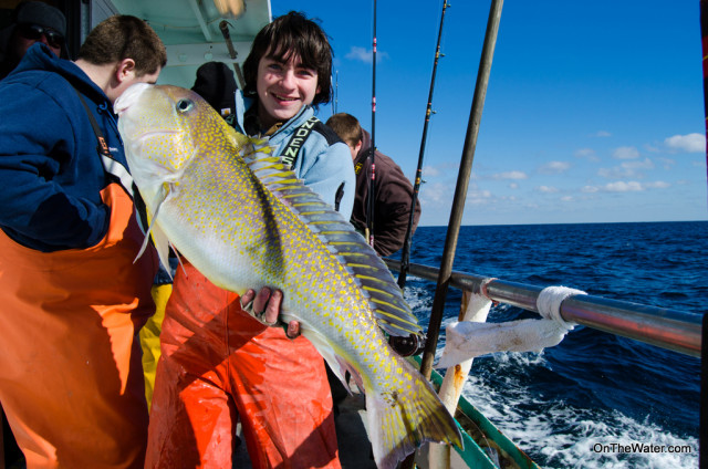 14-year-old Robert on his first deep drop trip came up big with this colorful tilefish.