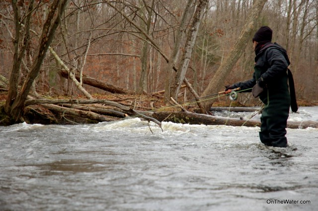 John Frazier works the fast water along a deep bank  on the Salmon River.