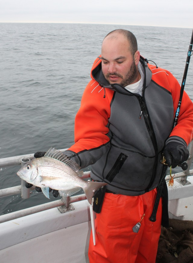 OTW's Anthony DeiCicchi pulled up an out-of-season scup.