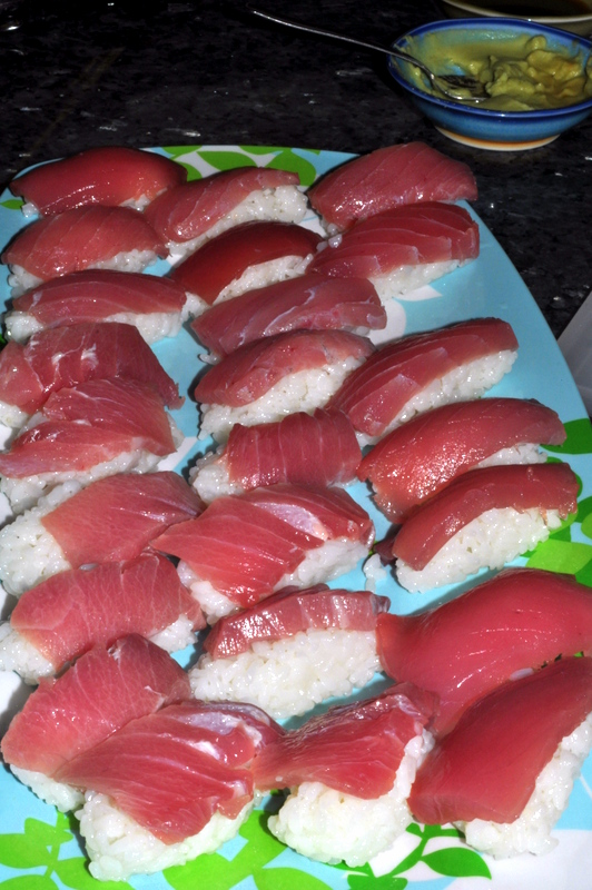 Homemade platter of bluefin tuna sushi.