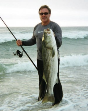 Terry Martuscelli caught this 32-pounder with a snagged bunker. It's wise to always pack a few snagging hooks.