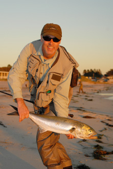 Beaches are best in the fall for locating concentrated bait schools. Menhaden, mullet, silversides and anchovies effectively draw the attention of stripers, blues and false albacore - all of which are readily taken with live bait capture on-site.