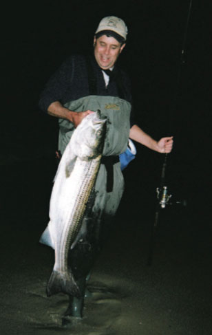 Carmen Bufardeci with a respectable striper. Fishing in the dark will greatly increase your odds of success.