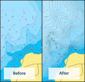 Electronic charts can provide even greater detail than traditional paper charts. Navionics uses data from surveys and sonar logs provided by Navionics community users to constantly update their charts.