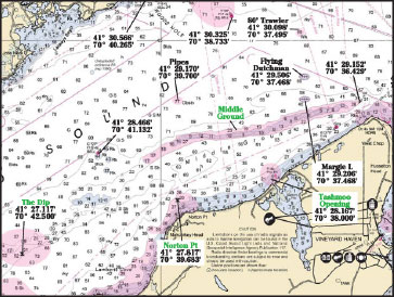 Fishing charts can be a great tool for finding new spots. Captain Segull's nautical charts, shown above, highlight popular fishing locations with pink shading. They also provide GPS coordinates for each location, and list areas with their local names, which aren't available on NOAA charts.