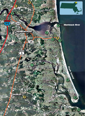 1) Old Chain Bridge 2) Joppa Flats 3) Town Beach 4) Plum Island River Causeway 5) The River Mouth 6) Parker River Wildlife Refuge 7) Parker River 8) Sandy Point State Reservation 9) Crane's Beach