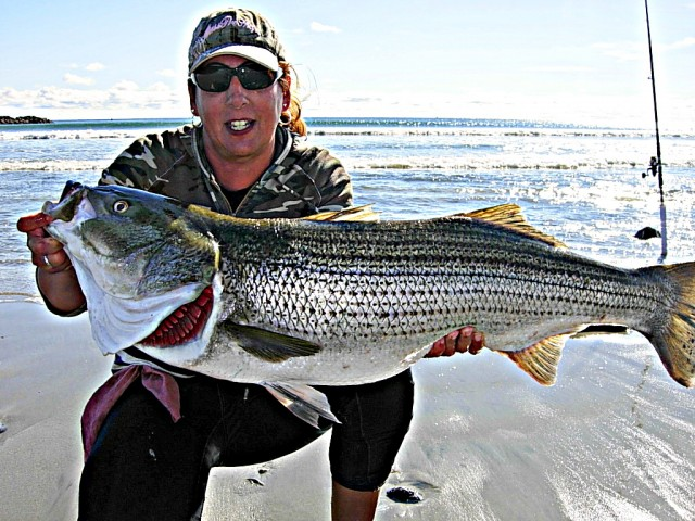 Female Surfcaster Catches (and Releases) Big Bass