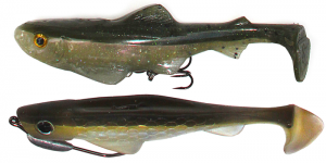 Soft plastic swimbaits like the Osprey Lures Inline Tournament Talon and the Lunkerhunt Swim N Jerk Hybrid are effective when worked over structure like weedbeds or timber.