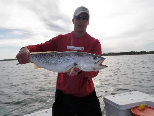 Mike Roy of Reel Cast Charters with a very nice weakfish caught along the Connecticut shoreline last weekend.