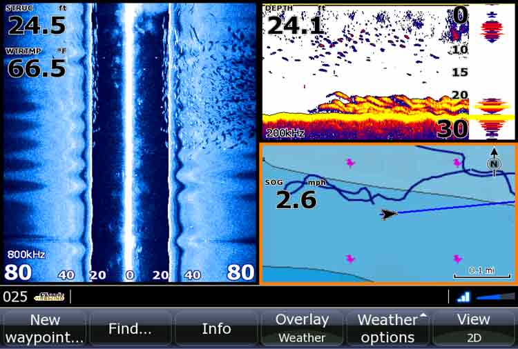On the left side of the screen, side-scanning sonar reveals a large school of striped bass in the shallow water off the right side of the boat.