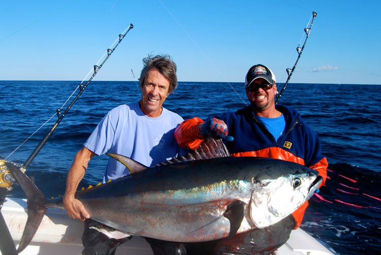The author took his father out for a birthday tuna fishing trip and raised this 67-inch fish on trolling gear.