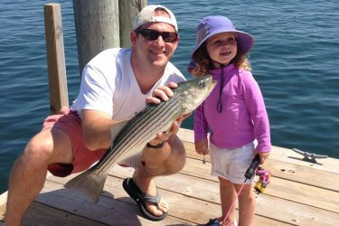 Sadie and her dad were fishing for scup off the Hyannisport dock when they were surprised by this nearly keeper-sized striper.