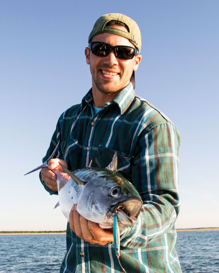 OTW's Pat Donovan with an albie caught just off Waquoit on Thursday morning.