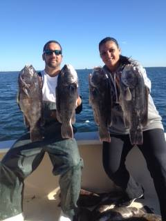 Pictured is Kim Granite and Captain Jason Spina aboard Pelagic Beast Charters with some nice tog. Pelagic Beast Charters just moved from NY to Norwalk this week. Call today to book yourself a trip! 1-(914)-216-4899