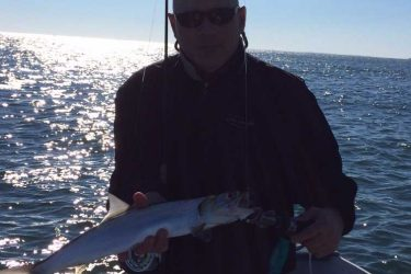 Robert Mincarelli and his father caught this rare ladyfish while fishing out of Niantic this week.