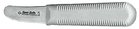 When it comes to shucking, using the proper knife will make a world of difference. Shown above is a scallop shucking knife.