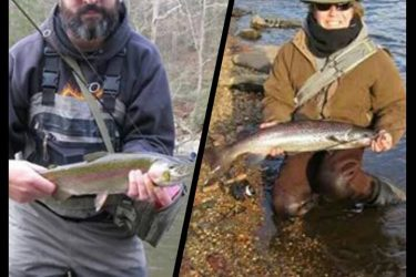 Jeff Tree (Left) with a great rainbow from the upper Housy. Ron Merly (Right) with an Atlantic Salmon from the Naugy.