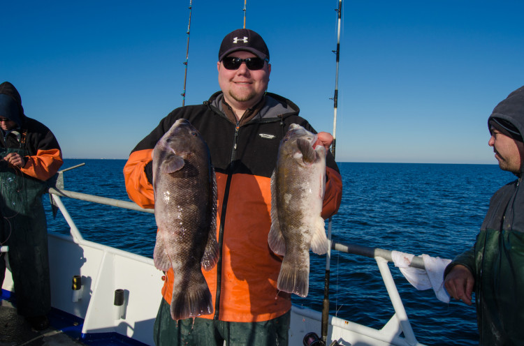 Eric Bunz of the Reel Seat in Brielle caught five keepers despite tough fishing by using small whole white-legger crabs.