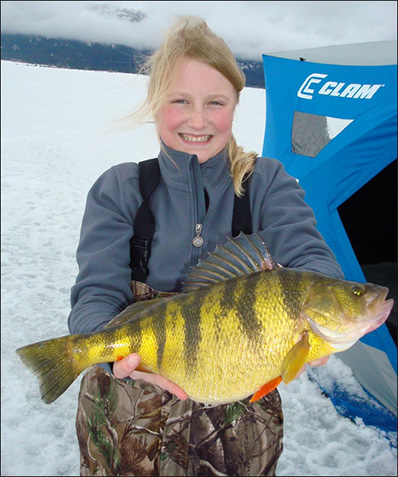 Tia Wiese's world record perch measured 15.5 inches long, with a 12.75-inch girth.