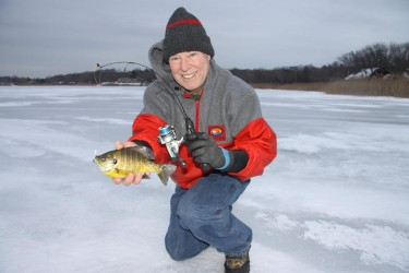 Tom Schlichter has been finding some good action on the frozen ponds of Long Island, catching a mix of bluegills, crappie and bass.