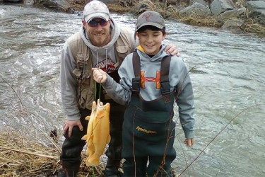 Richard Diffendorf JR. (right) and mentor Chris Tinder (left)were successful on Snake Creek during Mentored Youth Day.