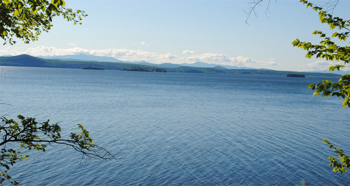 The view from our campsite, located just above the Lake Champlain shoreline.