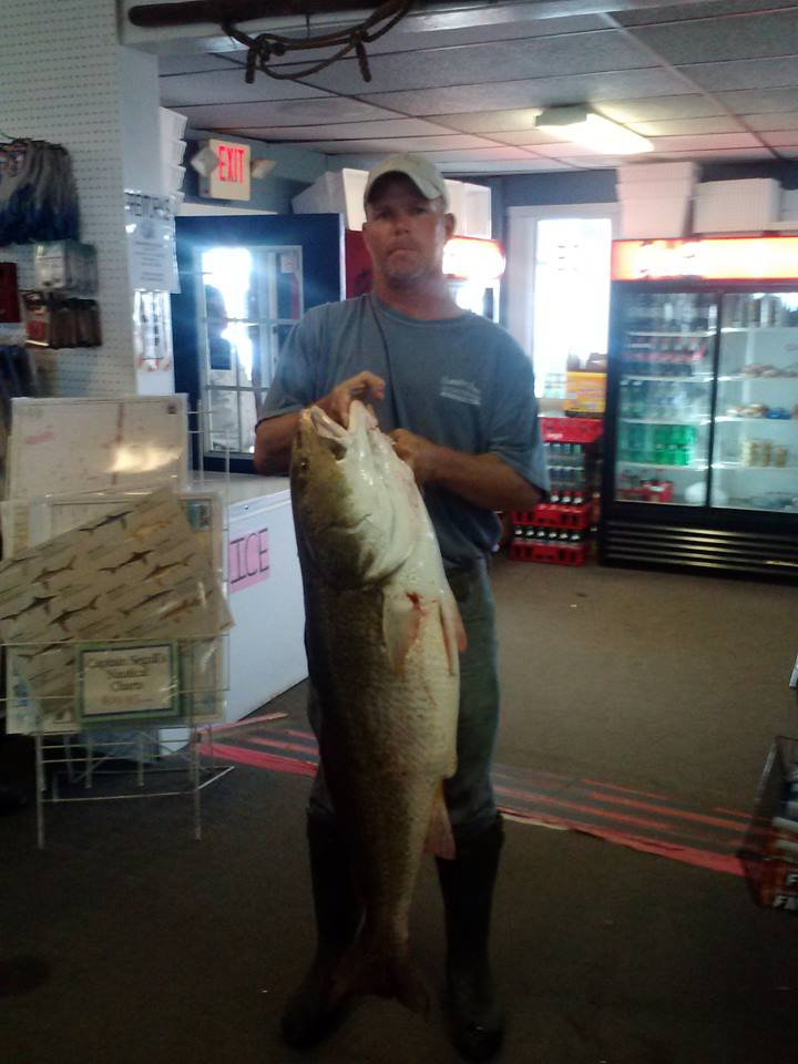 NAME with a 43-pound red drum caught on a bucktail aboard the Gail Frances.
