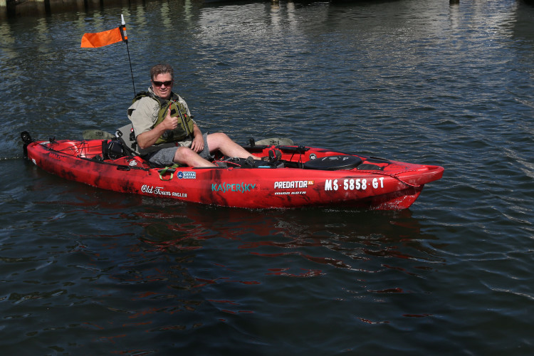 Old Town offered on-the-water trials of their Predator XL Minn-Kota kayak on Falmouth Harbor.
