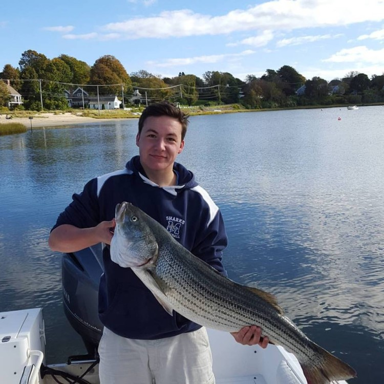 Max Arvidson caught this nice striper while fishing off Chatham this weekend.