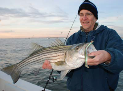 Soft-plastic sand eel imitations are rarely ignored by fall stripers.