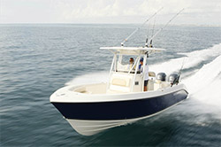A light hull combined with a deep-V design allows for excellent fuel efficiency and offshore capability.