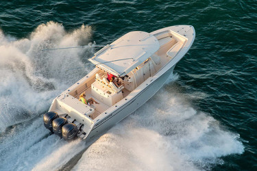 Big, Beamy, 33-Foot Grady-White Center Console Canyon 336 Performance Options Now Enhanced with Triple Engine Package
