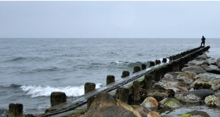 Jetties are great places to intercept migrating stripers