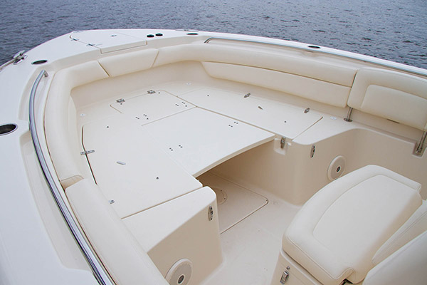 Grady-White Canyon 271 FS bow area with optional casting platform. Forward seating folded away.