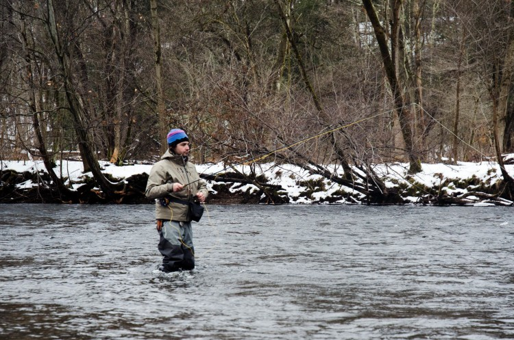 Tom Fernandez of Tailwater Lodge works a run on Saturday afternoon.