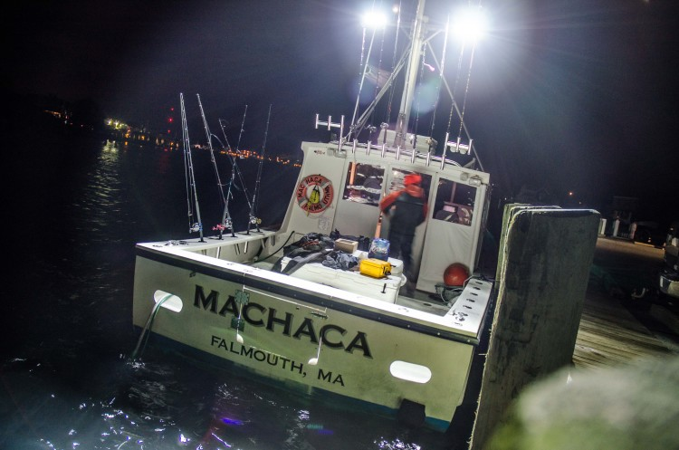 4:30 a.m. New Year's Day, Falmouth Harbor. Loading up the Machaca for a day of codfishing.