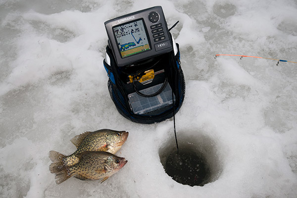 "Using Lowrance's ""history"" to customize jigging moves helped ice these two crappie."