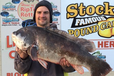 Pete McCusker and his 23-pound, 10-ounce blackfish caught off Atlantic City this weekend.