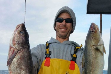 Dominic Wines caught this cod and white hake combo aboard the Big Jamaica last week.