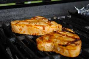 tuna steaks on the grill