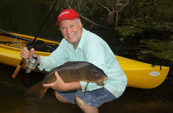 Big carp are available all across Long Island. Here's the author with a fish caught and released on the Peconic River.