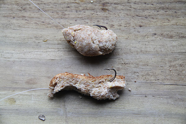 Examples of sinking and floating bread baits for carp