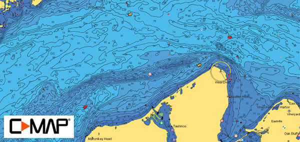 Middle Ground hi-res bathymetric map provided by C-MAP