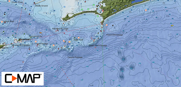 With such a complex bottom topography of rocks, reefs, and passages, you'll depend heavily on your chartplotter and a detailed map to navigate safely around this fishy structure.