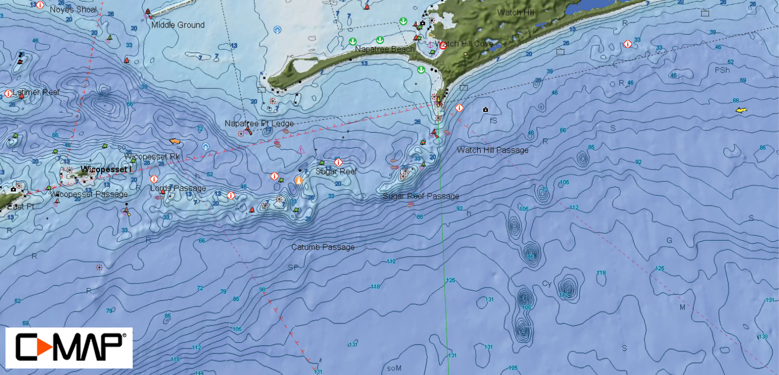 C map featured hotspot watch hill reef on the water with such a complex bottom topography of rocks reefs and passages you nvjuhfo Image collections