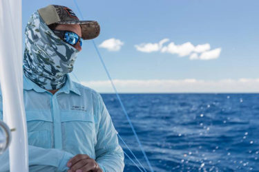 Hooksetter Shirt and Fish Head Neck Gaiter