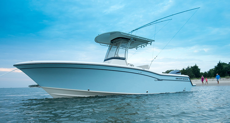The proud bow and handsome line of Grady-White's new 23-foot center console Fisherman 236