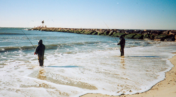 The pocket at the Jones Inlet jetty attracts mullet and anglers during the fall run.